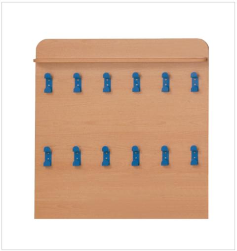 Attaccapanni a parete con mensola a 12 grucce metalliche